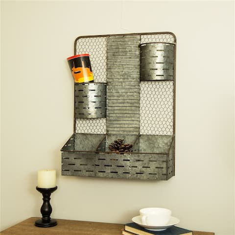 Glitzhome Farmhouse Galvanized Wall Organizer