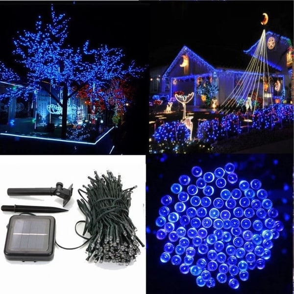 solar powered led blue string fairy light outdoor xmas party lamp - Solar Powered Outdoor Christmas Decorations