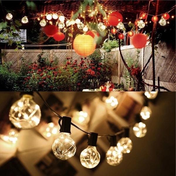 Outdoor Waterproof Christmas Decor Patio Globe String Light White