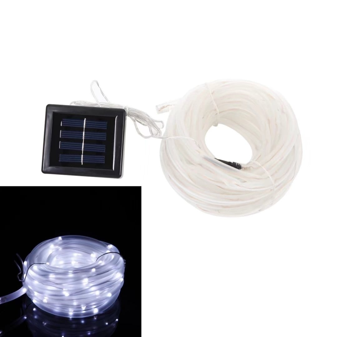33Ft LED Solar Rope Light Strip String Outdoor Garden Xma...