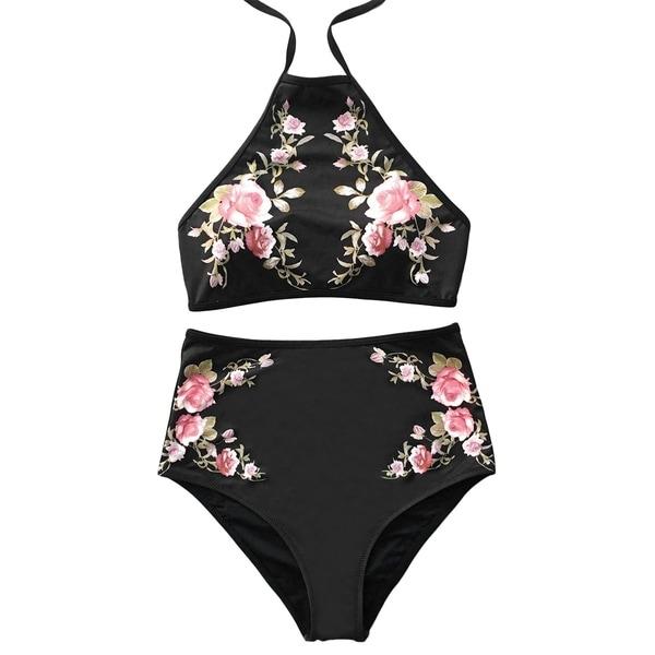 46f973c53f Cupshe Women's Floral Printing High-waisted Swimsuit Halter Padding Bikini  Set