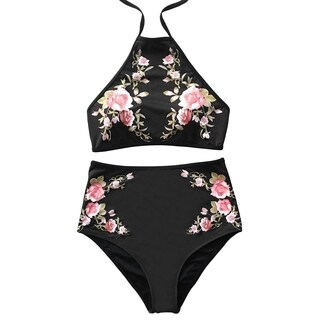 Cupshe Women's Floral Printing High-waisted Swimsuit Halter Padding Bikini Set Beach Bathing Suit