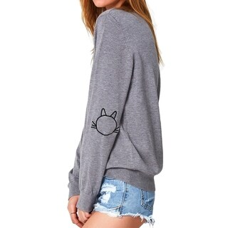 Cupshe Women's Solid Color Cat Embroidered Long Sleeve Pullover Sweater