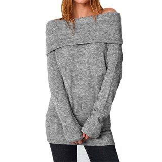 Cupshe Women's Solid Color Big Lapel Off Shoulder Long Sleeve Pullover Knitting Sweater