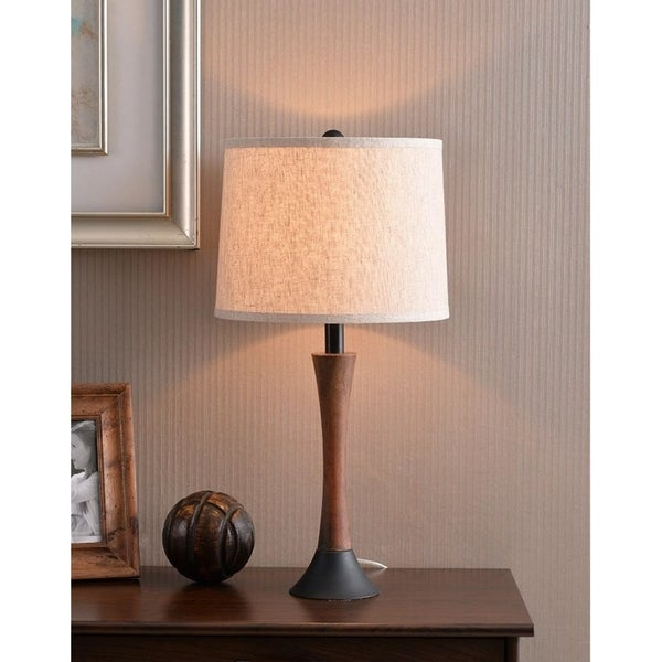 """Delilah 23.5"""" Mahogany Wood Grain and Oil Rubbed Bronze Accent Lamp"""