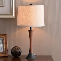 "Delilah 23.5"" Mahogany Wood Grain and Oil Rubbed Bronze Accent Lamp"