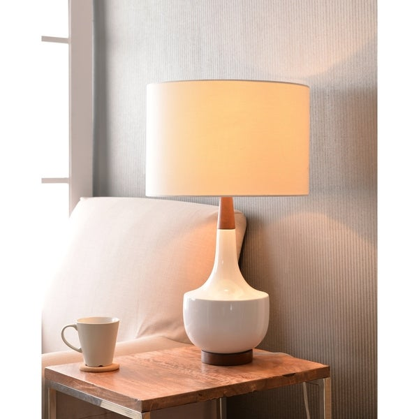 "Design Craft Marlo 26"" White Glossy Ceramic Table Lamp"
