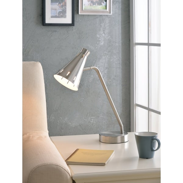 "Design Craft Jenna 18"" Brushed Steel Table Lamp"