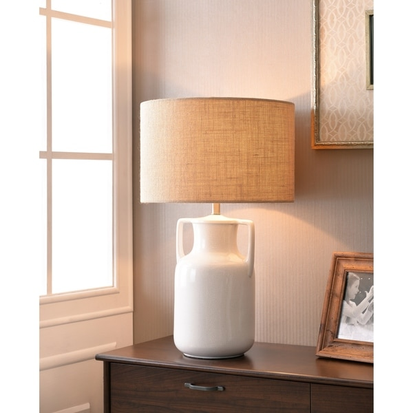 "Adelyn 26"" Glossy White Crackle Ceramic Table Lamp"