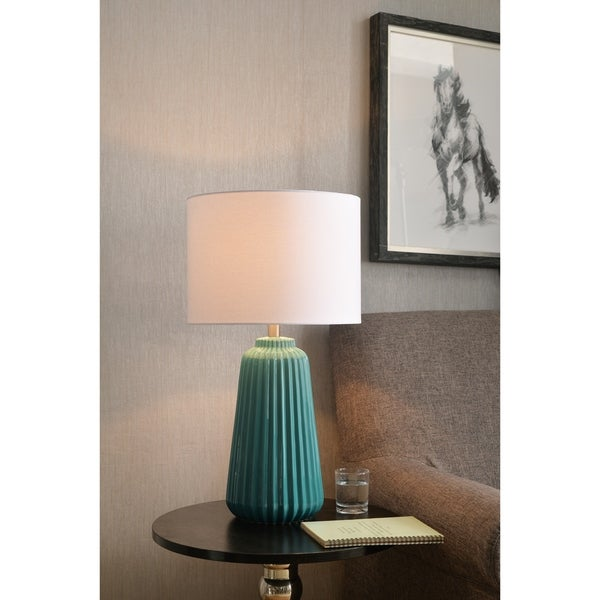 "Nico 26.75"" Table Lamp - Glossy Teal Ceramic"