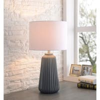 "Nico 26.75"" Glossy Gray Ceramic Table Lamp"