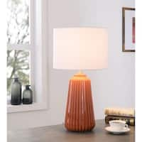 "Design Craft Nico 26.75"" Glossy Orange Ceramic Table Lamp"