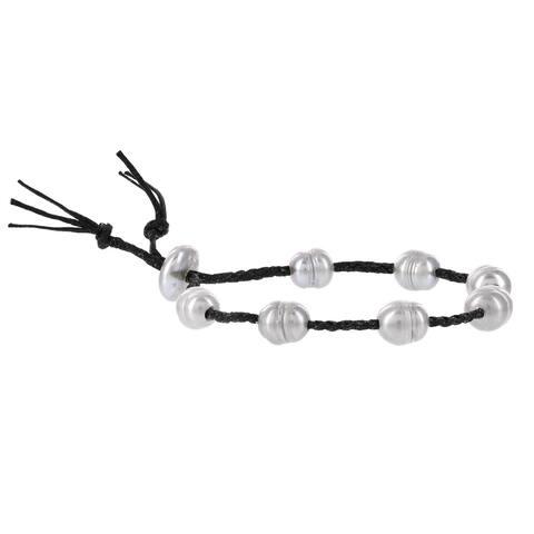 H Star Baroque Freshwater Pearls Black Cotton Cord Bracelet - adjustable/fashion