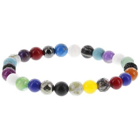 Fox and Baubles Multi Color Chakra Men's Beaded Stretch Bracelet