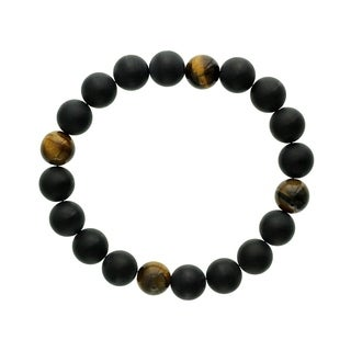 Fox and Baubles Tiger Eye and Matte Black Agate Men's Stretch Bracelet