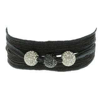 Fox and Baubles Smokey Crystal and Black Crystal Beads on Black Silk Wrap Bracelet