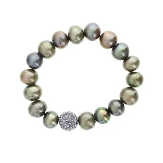 Fox and Baubles Freshwater Peacock Pearl and Smoky Crystal Stretch Bracelet (10 mm)