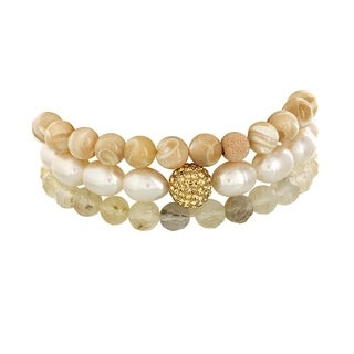 Fox and Baubles Freshwater Pearl with Crystal, Mother of Pearl and Champagne Quartz Stretch Bracelets