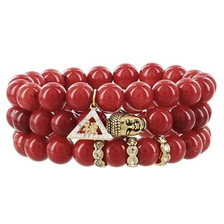 Fox and Baubles Goldplated Red Dyed Coral Buddha Diamond Accent and Crystal Prosperity Stretch Bracelets