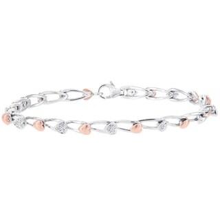 H Star 14k Rose and White Gold Diamond Accent Heart Bracelet - White I-J