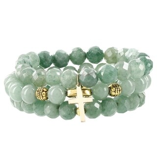 Fox and Baubles Green Jade with Gold Plated Cross, Brass Spacers and Brass Faith Bead Stretch Bracelets (Set of 3)