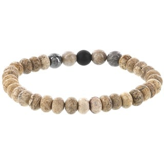 Fox and Baubles Men's Picture Jasper and Mulit-color Beaded Stretch Bracelet