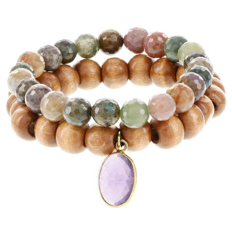 Fox and Baubles Jasper and Wood with Amethyst Charm Stretch Bracelets (Set of 2)