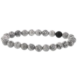 Fox and Baubles Men's Gray Marble Agate and Matte Black Agate Beaded Stretch Bracelet