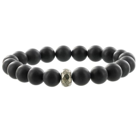 Fox and Baubles Matte Black Agate and Pyrite Men's Beaded Stretch Bracelet