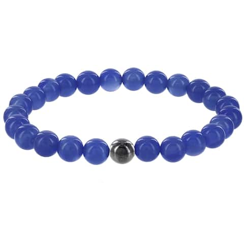 Fox and Baubles Men's Blue Agate and Hematite Beaded Stretch Bracelet