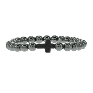 Fox and Baubles Men's Hematite and Black Magnesite Cross Beaded Stretch Bracelet