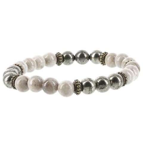 Fox and Baubles Fossil Coral, Pyrite and Brass Spacers Men's Stretch Bracelet