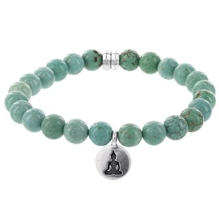 Fox and Baubles Men's Stabilized Turquiose, Brass Buddha Charm and Spacers Beaded Stretch Bracelet