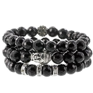 Fox and Baubles Black Agate, Polymer Crystal Bead, Brass Buddha, and Crystal Spacers Beaded Stretch Bracelets (Pack of 3)