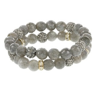 Fox and Baubles Labradorite and Crystal Bead Stretch Bracelets (Set of 2)