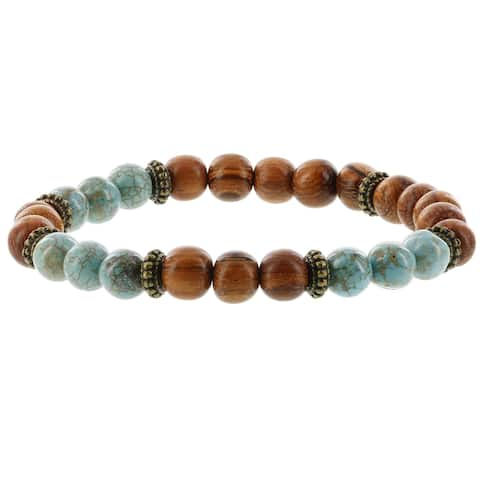 Fox and Baubles Men's Stabilized Turquoise and Wood with Brass Spacers Stretch Bracelet