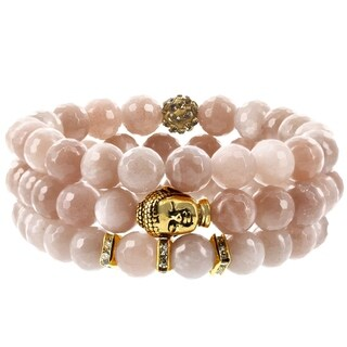 Fox and Baubles Peach Moonstone, Polymer Crystal Bead, Brass Buddha and Crystal Spacers Beaded Stretch Bracelets (Pack of 3)
