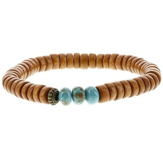 Fox and Baubles Men's Natural Wood, Stabilized Turquoise and Brass Elements Beaded Stretch Bracelet