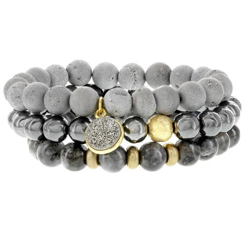 Fox and Baubles Gray Drusy Agate, Labradorite, Hematite, Gold Plated Drusy Charm Brass Spacers, Brushed Bead Stretch Bracelets