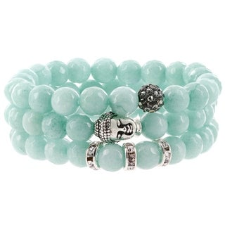 Fox and Baubles Amazonite, Polymer Crystal Bead, Brass Buddha, and Crystal Spacers Beaded Stretch Bracelets (Set of 3)