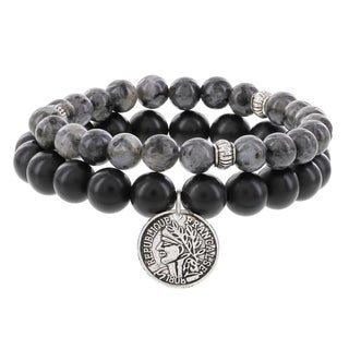 Fox and Baubles Men's Matte-black Agate/Labradorite with Coin Charm and Spacers Beaded Stretch Bracelet