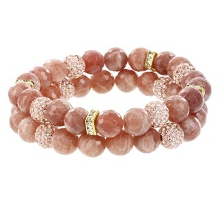Fox and Baubles Peach Moonstone with Champagne and White Crystal Beads Stretch Bracelets (Set of 2)