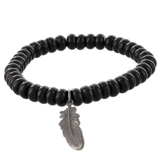 Fox and Baubles Brass Men's Matte Black Agate Rhondelle and Feather Beaded Bracelet