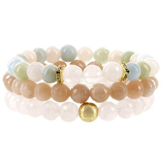 Fox and Baubles Rose Quartz/Peach Moonstone/Morganite/Brass Bead/Crystal Spacers Beaded Stretch Bracelets (Set of 3)