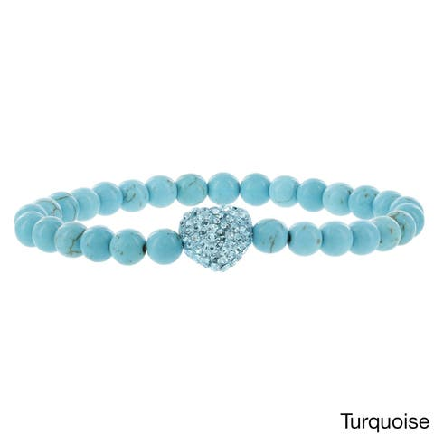 H Star Stackable Crystal Heart Glass Beaded Stretch Bracelets - turquoise