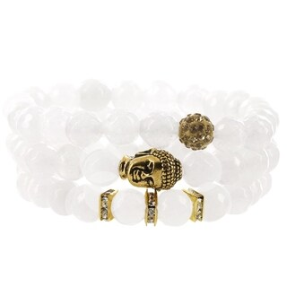 Fox and Baubles White Ceramic Jasper, Polymer Crystal Bead, Brass Buddha and Crystal Spacers Stretch Bracelets (Pack of 3)