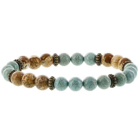 Fox and Baubles Stabilized Turqouise,Picture Jasper,Brass Spacer Men's Stretch Bracelet