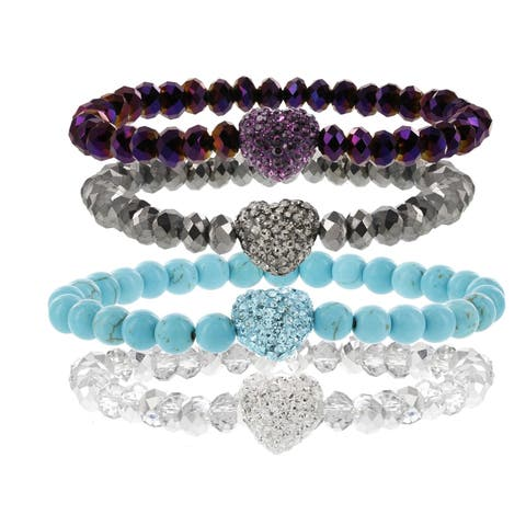 H Star Stackable Crystal Heart Glass Beaded Stretch Bracelets - Gunmetal