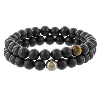 Fox and Baubles Matte Black Agate, Tiger Eye, and Pyrite Men's Beaded Stretch Bracelets (Set of 2)