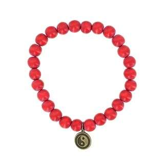Fox and Baubles Dyed Red Wood and Brass Yin Yang Men's Stretch Bracelet
